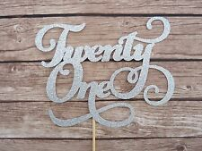 Twenty One Silver Glitter Cake Topper - 21st Birthday Cake, Party Decorations