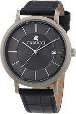 Armbanduhr Carucci Watches Herren XL Analog Automatik Leder CA2192GR Schmuck