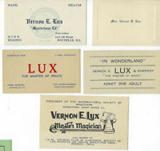 Five Different Vernon Lux Business Cards,Ticket,Wife's Card-v.Fine-Af