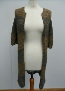 Kookai Brown Knit Short Sleeve Open Cardigan Size 1 (UK 10)