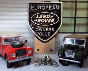 Land Rover European Owners Club Cast Alloy Grill Bumper Badge Quality & Fixings