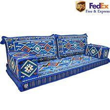 Floor Cushions Sofa Living Arabic Decor Turkish Majlis Oriental Blue Kilim FOAM