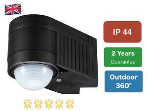 PIR Infrared Motion Sensor Black Outdoor 360 Degree NEW IP44 Certified