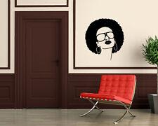 Sexy African Black Woman Sunglasses Salon Decor Wall Mural Vinyl Sticker M568