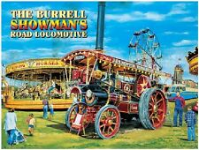 Fairground Dampf Motor, Lokomotive / die Burrell, 30.5cmx 20.3cm Metall Schild,