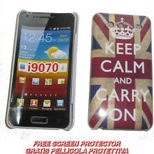 Pellicola + custodia BACK cover UK KEEPCALM per Samsung I9070 Galaxy S Advance