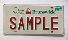 1993 NEW BRUNSWICK SAMPLE License Plate Tag # 03/93 SAMPLE Expired Canada Plate