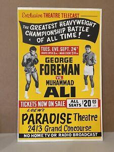 RARE 1974 MUHAMMAD ALI VS GEORGE FOREMAN BOXING POSTER W/ ORIGINAL DATE OF 9/24