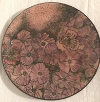 "BALDELLI ITALY Gorgeous 12"" Display Plate Platter Pink Purple Black Floral MINT"