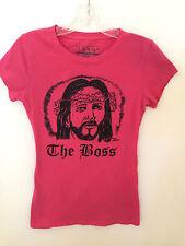 THE BOSS WOMENS PINK COTTON RELIGIOUS JESUS T-SHIRT TEENAGE MILLIONAIRE-SZ XL