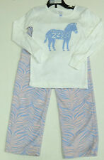 Carter's fille 2 pièces Zebra Pyjamas Set, Blanc Top Rose Polaire Pantalon 5 ans
