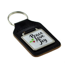 Peace Love Joy Christmas Design Square Bonded Leather Key Ring XKFS112