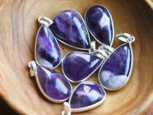 20 PCs Natural Purple Amethyst Gemstone .925 Silver Plated Bezel Pendants Lot