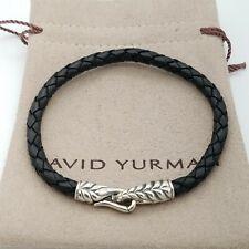 David Yurman Sterling Silver Woven Braided Chevron 6'mm Black Leather Bracelet