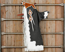 Western Leather Top Grain Bull Riding  Rodeo Chinks with Matching Fringes : 8520