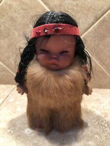 Vintage Eskimo Native American Plastic Chubby Cheek Crybaby Girl Doll In Fur