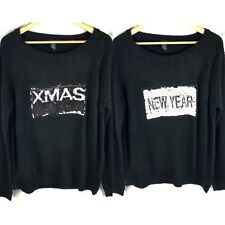 Rue 21 Sweater XL Christmas New Years Reversible Sequin Words Black Pullover