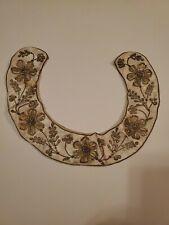 Antique Victorian Champagn Silk, Gold Beaded Dress Trim Neck Collar Choker