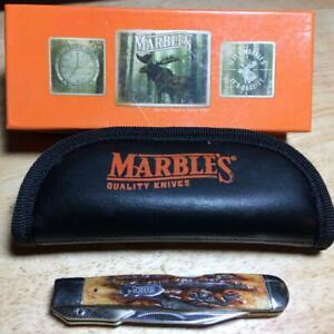 "Marbles Swing Guard Lockback 4 3/8"" Brown Stag Bone w/Zipper Storage Pouch MR109"