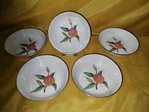 "5 x Royal Worcester ""Evesham"" Gold (Peach) 5 5/8 inch (14cm) Fruit Saucers - VGC"