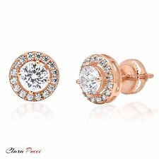 1.6ct Round Cut Stud Halo Solitaire Earrings Gift 14k Rose Gold Screw Back