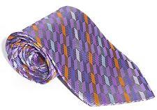 100% Silk Tie - Shiny Purple With Multi Coloured Stripes & Herring Bone Pattern