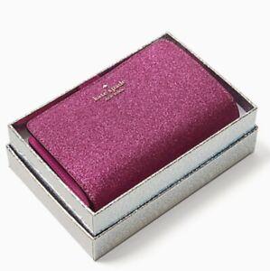Kate Spade Lola Glitter Medium Bifold Gift Box Wallet Metallic Hot Pink Glitter