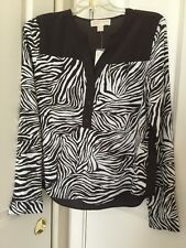 Womens Michael Kors Chocolate Long Sleeve Peasant Top Sz XL