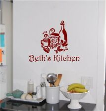 Personalized Name & Kitchen Wall Sticker Wall Art Decor Vinyl Decal Wine Coffee