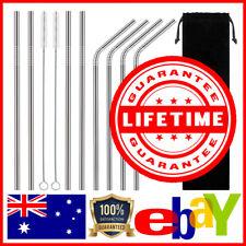 8 Stainless Steel Straws Reusable + 2 Brushes + Bag Metal Drinking Straw Set AU
