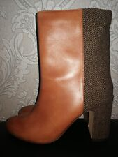 """La Redoute R Studio Womens UK 5 EU 38 Brown Leather 3.5"""" Heeled Ankle Boots"""