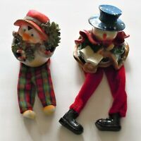 Plastic Holiday Snowman And Penguin With Fabric Legs in Excellent Used Condition