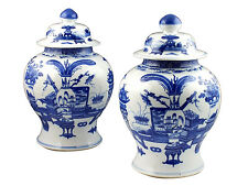 Pair Qing Dynasty  Double Ring Mark Blue & White Chinese Porcelain Ginger Jars