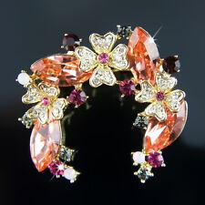 Diamond beautiful simulant chest brooch pin 18k Gold Gf with Swarovski crystals