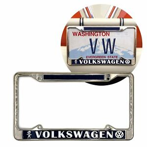 Volkswagen Bubblehead Chrome Dealer License Plate Frame for VW Bug Bus Ghia T4