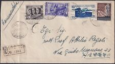 1952 24 Nov recommended by Bergamo to Arezzo in fee l.130 with nice franking