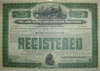 $1,000 Lake Shore & Michigan Southern Railway Bond Stock Certificate Railroad