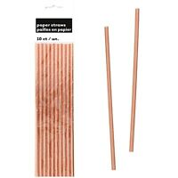 ROSE GOLD FOIL PAPER STRAWS PACK OF 10 TABLE DECORATION PARTY SUPPLIES