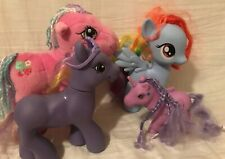 MY LITTLE PONY Unicorn Small Large Plush Hasbro Lot of 4 Pink Purple Blue