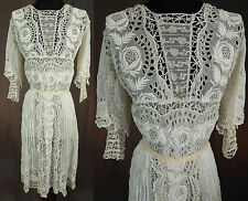 Vintage Edwardian White Batiste Broderie Anglaise Eyelet Embroidery Lace Dress