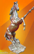 REARING HORSE PURE BRONZE STATUE STALLION FIGURE ANIMAL HOT CAST SCULPTURE