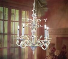 Antique Vintage Chandelier Bronze Cream/Pink Shabby Floral 5 Light Nursery Baby
