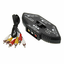 New 3-Way Audio Video AV RCA Black Switch Box Splitter US Seller fast Shipping