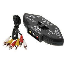 New 3-Way Audio Video AV RCA Black Switch Box Splitter US Seller fast Shipping