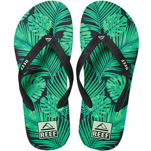 Reef Mens Seaside Prints Summer Holiday Beach Flip Flops Sandals - Green Palm