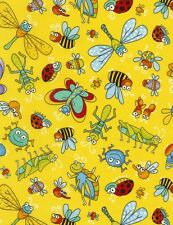 Insects cotton quilt fabric BTY Timeless Treasures Dragonfly Ladybug GrassHopper