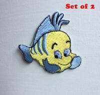 Fish Animated Cartoon Art Badge Iron or sew on Embroidered Patch Set of 2