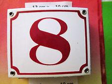 Hausnummer Emaille Nr. 8 rote Zahl auf weißem Hintergrund 12 cm x 10 cm