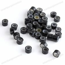 New 100pcs Silicone Micro Link Rings 5mm Beads Tubes Lined for Hair Extensions