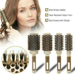 Thermal Ceramic And Ionic Round Barrel Hair Brush with Bristle 4 Size Boar E1F3